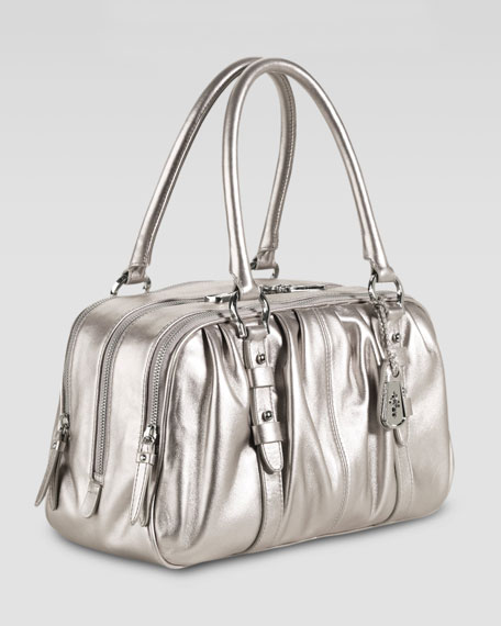 Cornelia Triple-Zip Satchel Bag, Silver