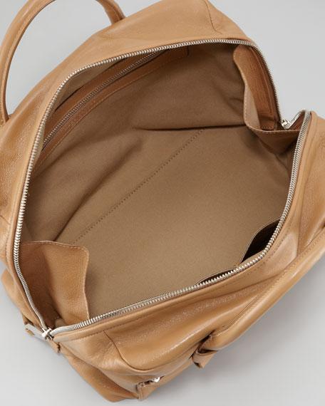 Antonia Small Leather Satchel Bag, Beige