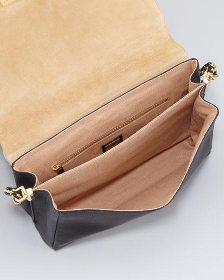 Claudia FF Leather Shoulder Bag, Black/Multicolor
