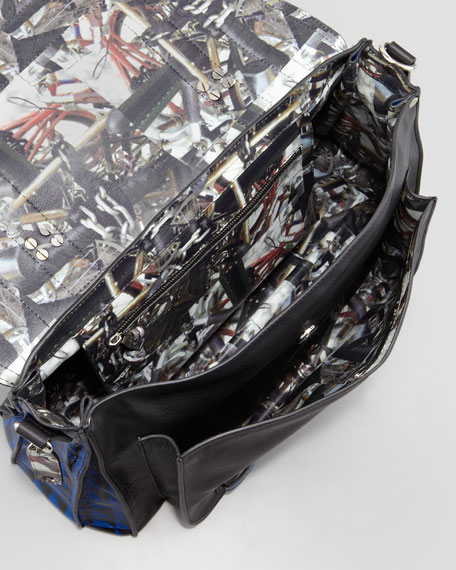 PS1 Triangle-Print Medium Satchel Bag, Blue/Black