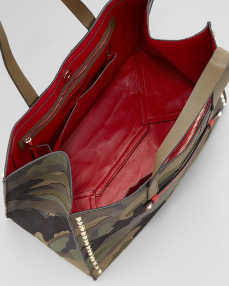 Rockstud Camo-Print East-West Tote Bag