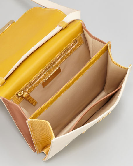 THE ROW Classic Lizard Shoulder Bag, Yellow