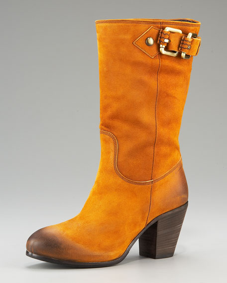 Buckled Mid-Calf Boot