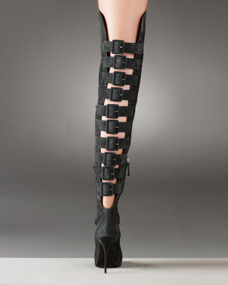 Suede Over-The-Knee Back Buckle Boot