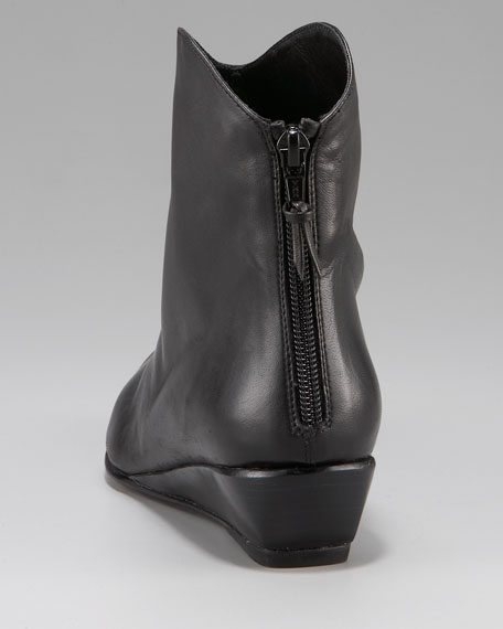 Back-Zip Low Wedge Ankle Boot