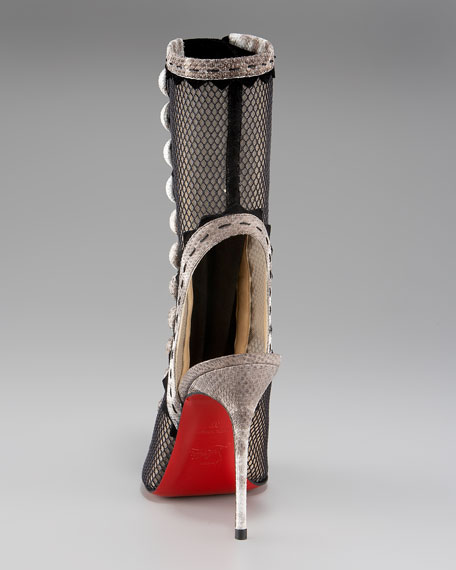 louboutin sneakers - Christian Louboutin Attention Button-Front Fishnet Boot