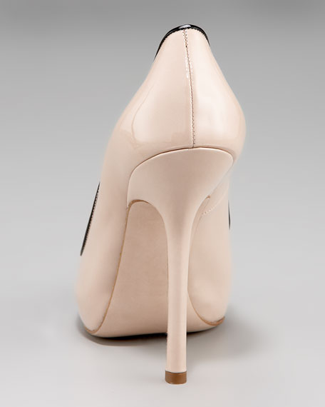 Patent Bicolor Peep-Toe Pump with Covered Platform