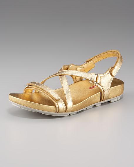 Cross-Strap Flat Sandal