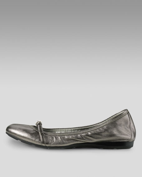 Air Tali Mary Jane Ballerina Flat, Dark Silver