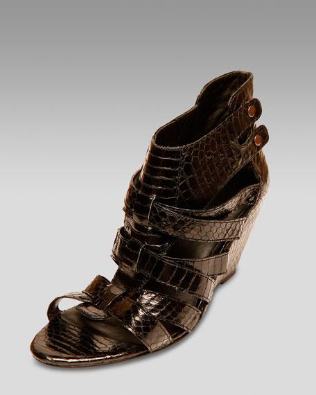 Snake-Embossed Cutout Wedge Sandal