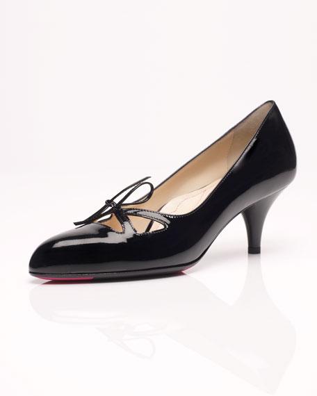 Bowtie Mid Heel Patent Pump