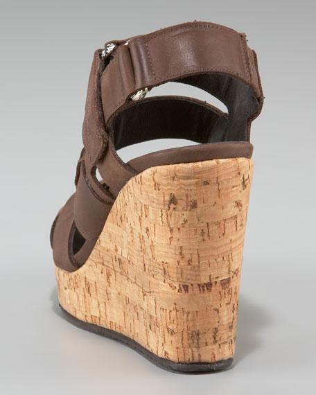 Strappy Cork-Wedge Sandal