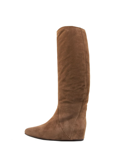 Suede Covered-Wedge Knee Boot