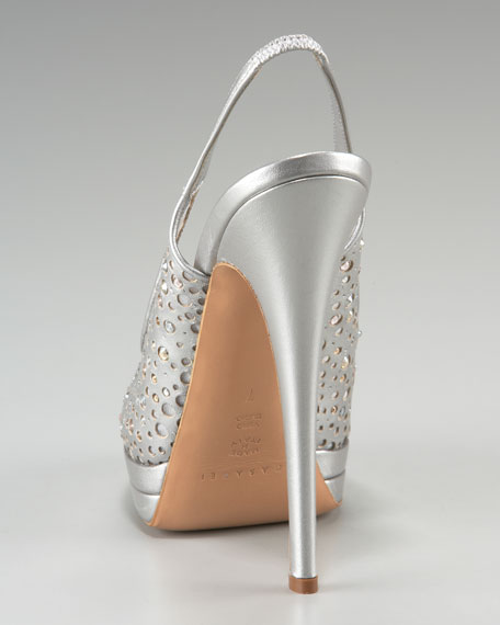 Sparkly Perforated Slingback