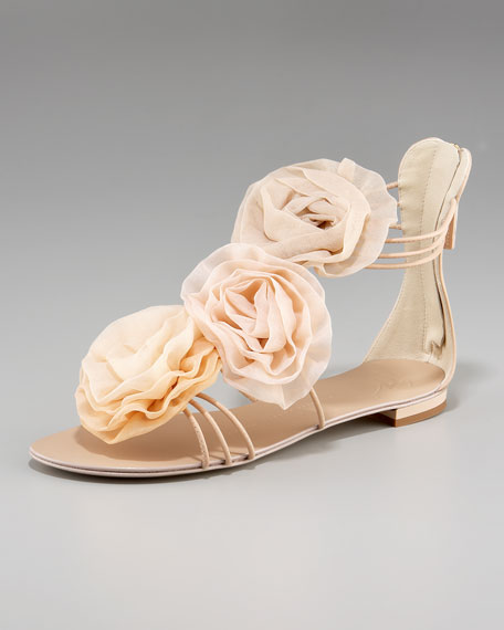 Flower Back-Zip Sandal
