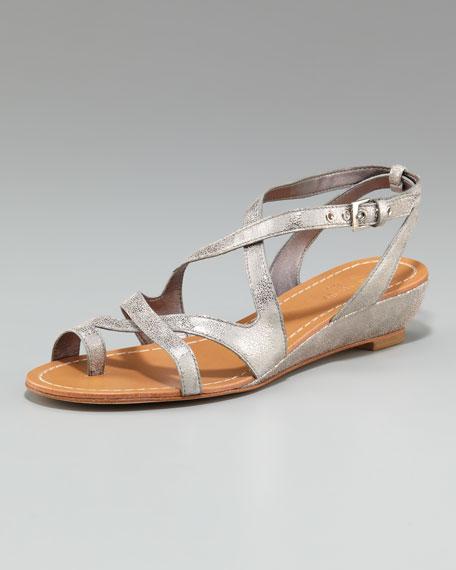 velora metallic low-wedge sandal