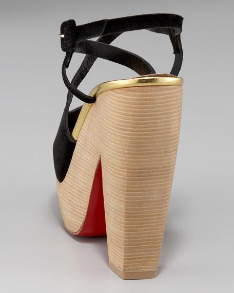 Suede Wooden-Platform Sandal