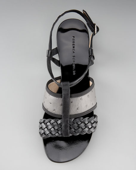 Woven Ostrich-Embossed Sandal