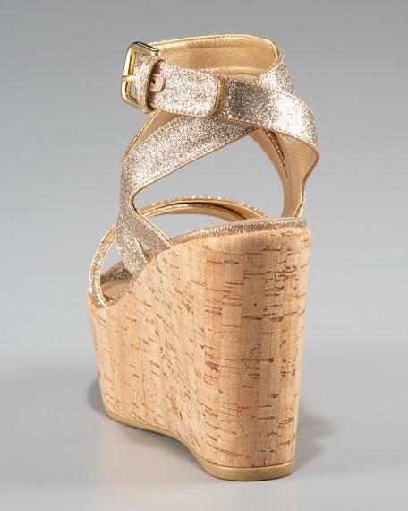 Glitter-Strap Wedge Sandal