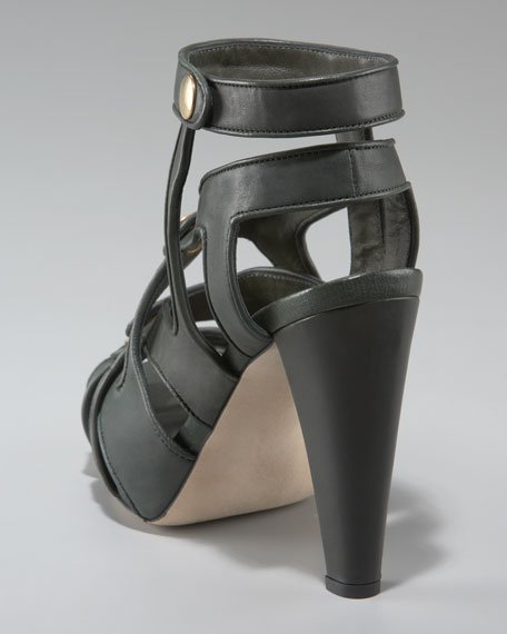 Strappy Ankle-Wrap Sandal, Forest Green