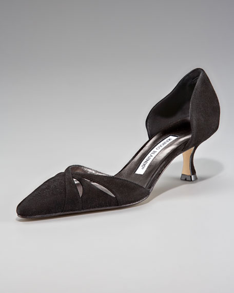 Crisscross Low-Heel d'Orsay Pump