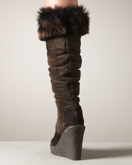 Fur-Trim Wedge Boot