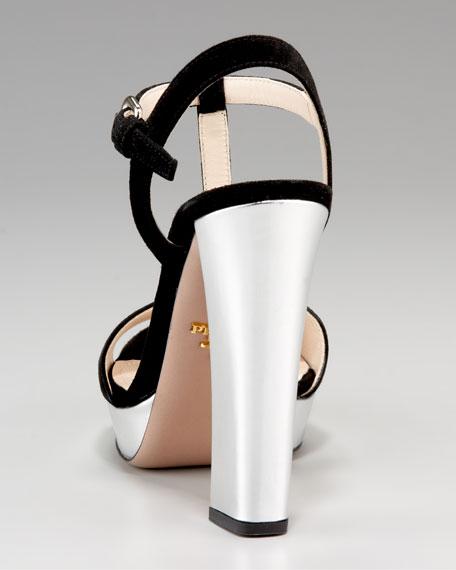 T-Strap Metallic Sandal