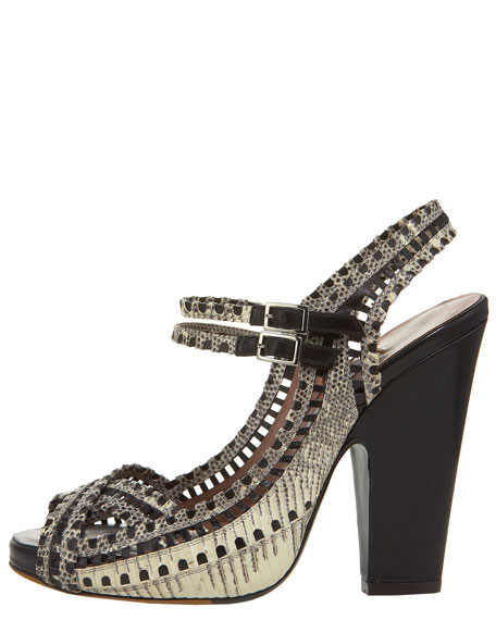 Cutout Lizard Ankle-Wrap Sandal