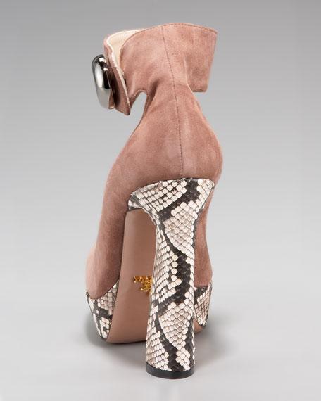 Suede & Python Ankle-Strap Pump
