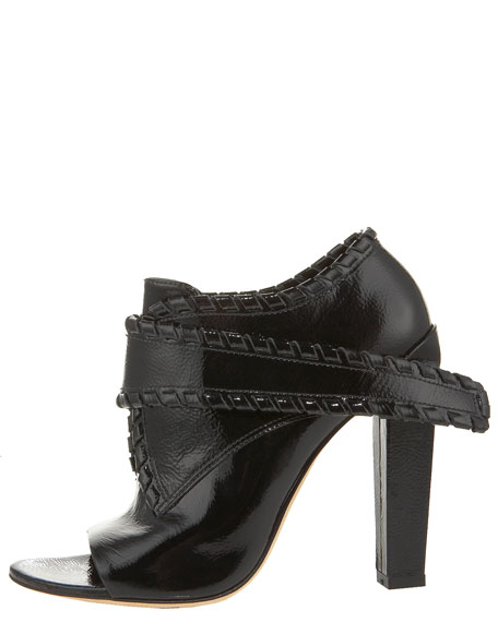 Cecilia Whipstitched Patent Bootie