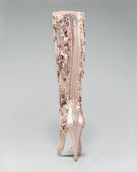 Crystal-Beaded Knee Boot