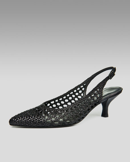 Woven-Leather Slingback
