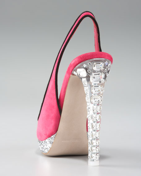 Jewel-Heel Suede Platform Sandal
