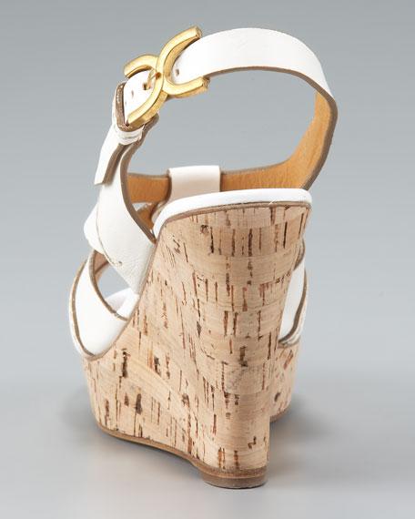 Marcie Cork-Wedge Slingback Sandal, Tan/White