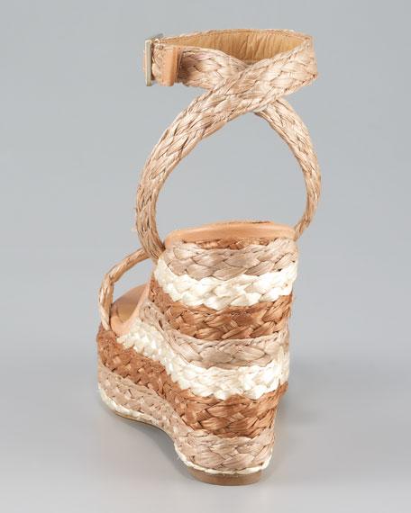Halter Ankle Raffia Wedge Sandal