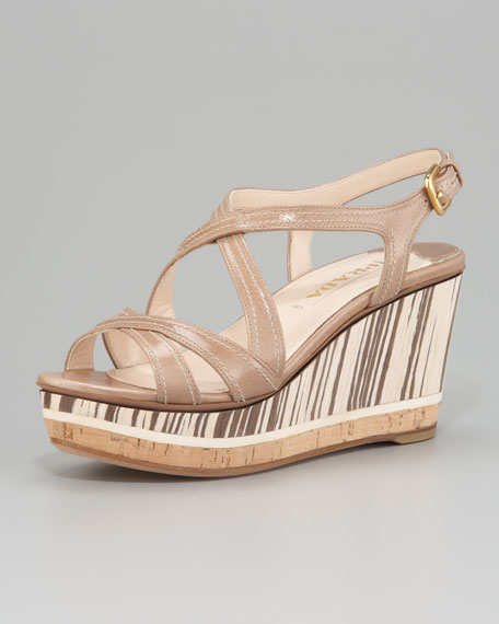 Leather Wood and Cork Wedge Sandal
