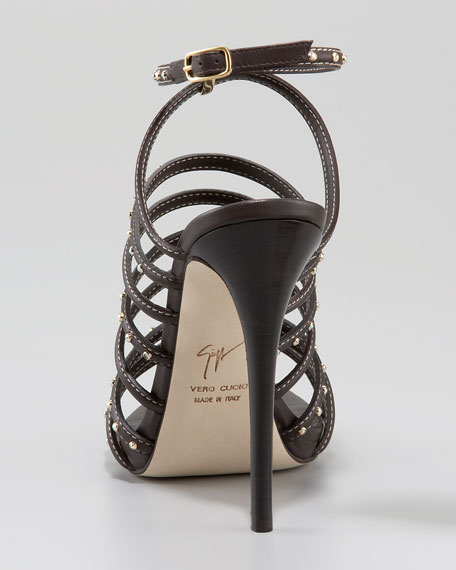 Bejeweled Strappy Ankle-Wrap Sandal