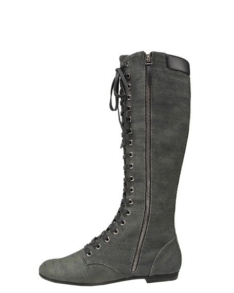 Lace-Up Side-Zip Boot, Denim