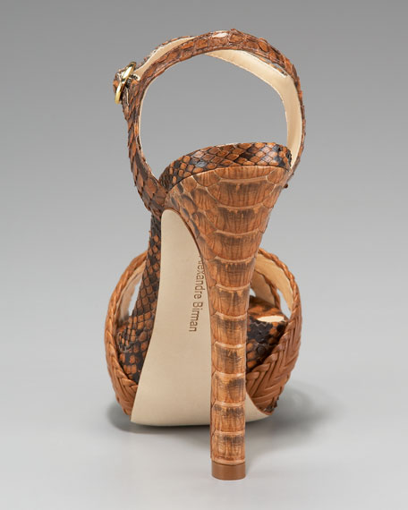 Woven Leather & Snake Platform Sandal