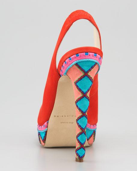 Aliyza Embroidered Platform Slingback