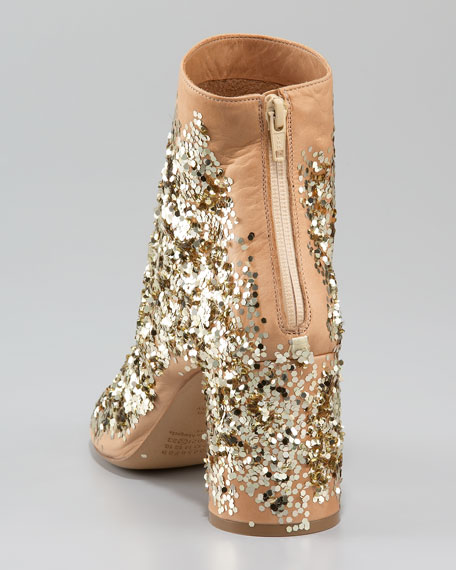 Sequin-Splashed Leather Bootie