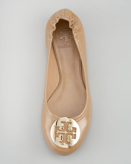 Reva Tumbled Patent Ballerina Flat, Tan