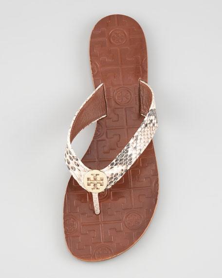 Thora Snake-Print Thong Sandal