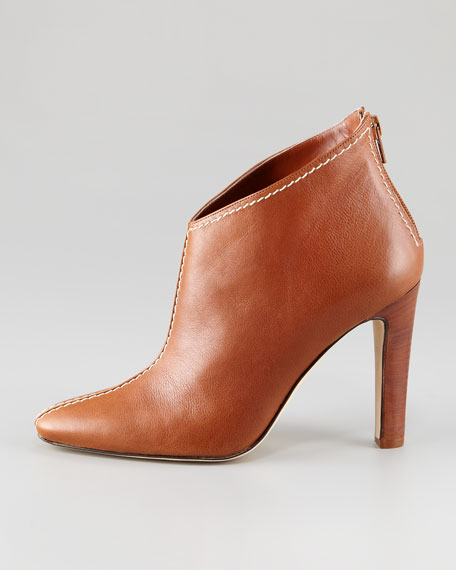 Macaofac Leather Contrast-Topstitched Ankle Boot