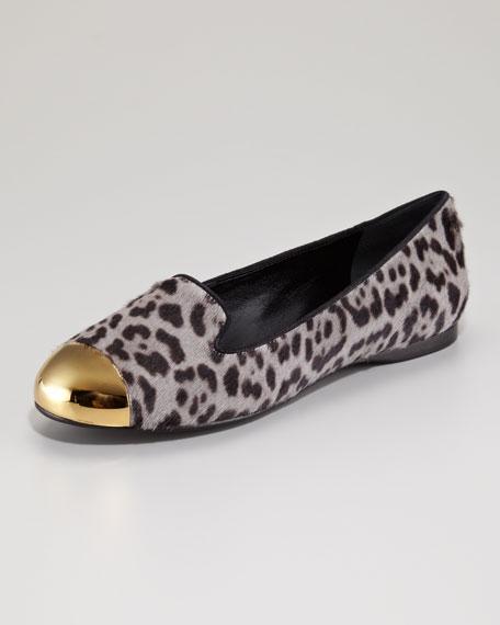 Metallic Cap-Toe Leopard-Print Calf Hair Loafer