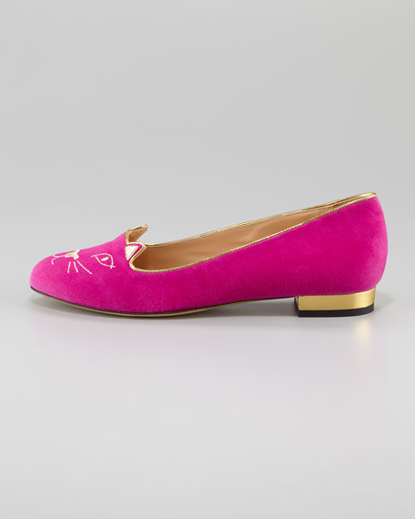 Charlotte Olympia Kitty Cat-Embroidered Suede Slipper