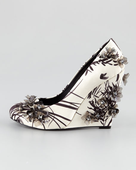 Pixie Floral-Applique Satin Wedge Pump