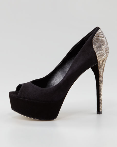 Blayne Sparkle-Back Suede Pump