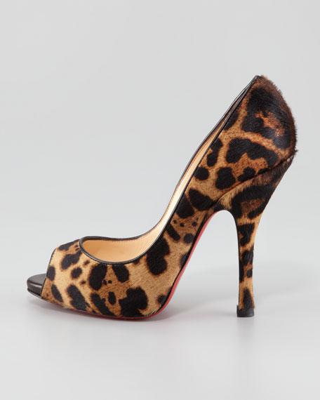 656e4b20432 Christian Louboutin Maryl Leopard-Print Calf Hair Peep-Toe Red Sole Pump