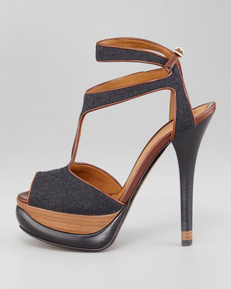 Bronte Felt-Leather Halter Strap Platform Sandal